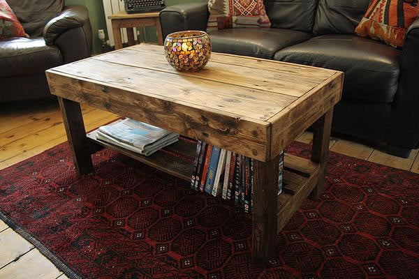 Wooden Coffee Table Made With Pallet Wood - Arte Povera - 6