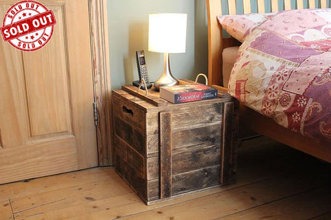 Rustic Side Table Crate Wooden Trunk Made With Pallet Wood