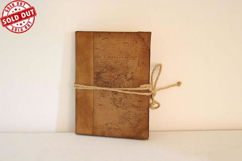 Handmade Vintage Design Journal - Vintage Worl Map Cover