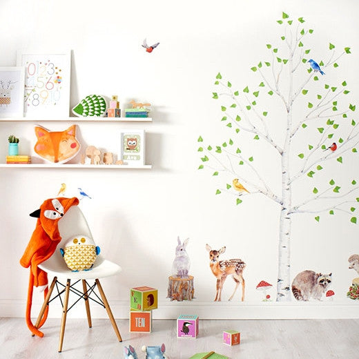 Woodland Tree & Animals Wall Stickers