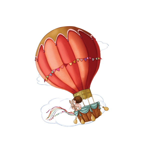 Belle's Balloon Hot Air Balloon Wall Sticker