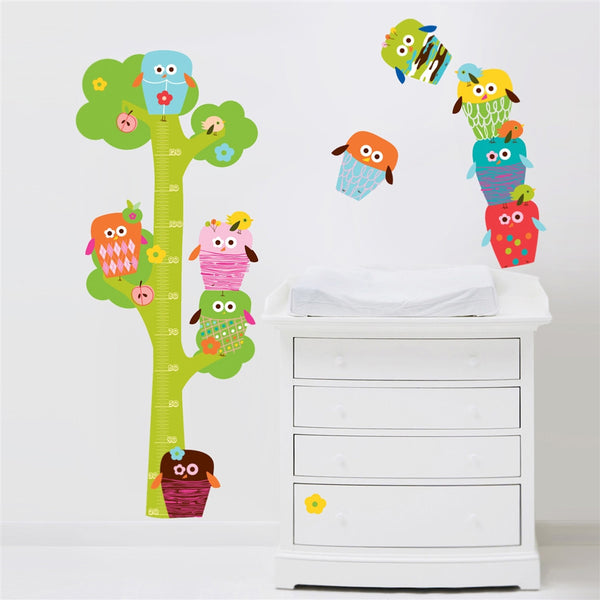 Owls Tree Height Chart Wall Stickers