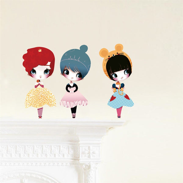 Dolls Wall Stickers, 3 Dolls