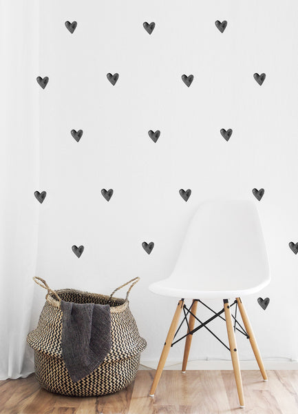 Watercolour Hearts Wall Stickers, Monocolour