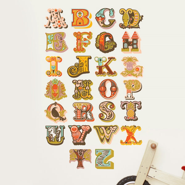 Vintage Alphabet Wall Stickers