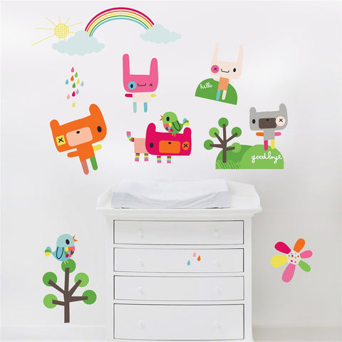 Rainbow & Animals Wall Stickers