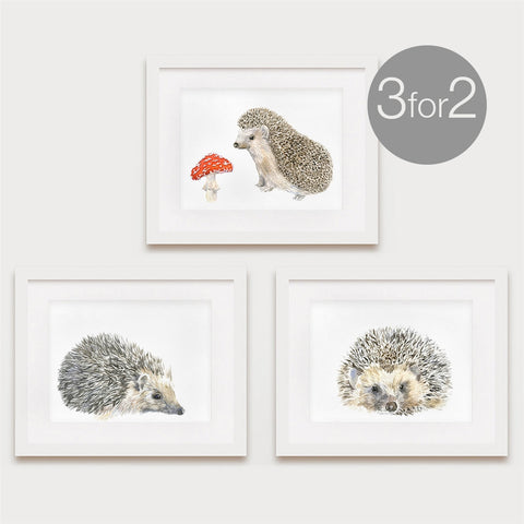 Hedgehog Prints, Hedgehog Family Set, 3 for 2