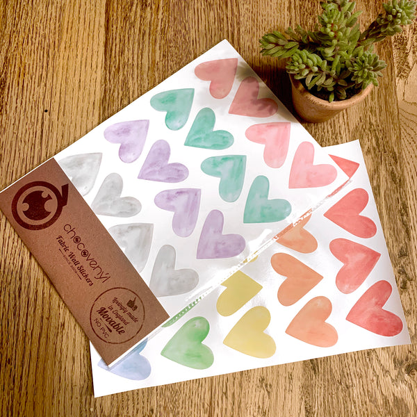 Watercolour Hearts Wall Stickers, Multicolour