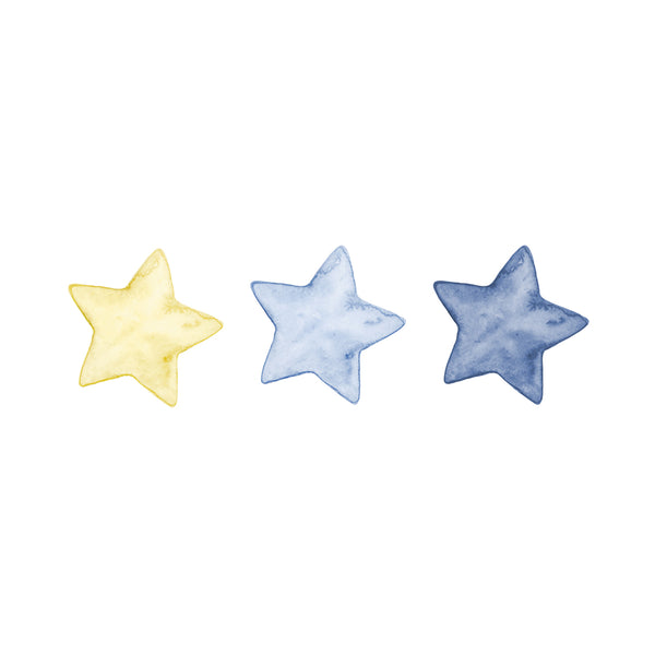 Watercolour Stars Wall Stickers, Mono-colour