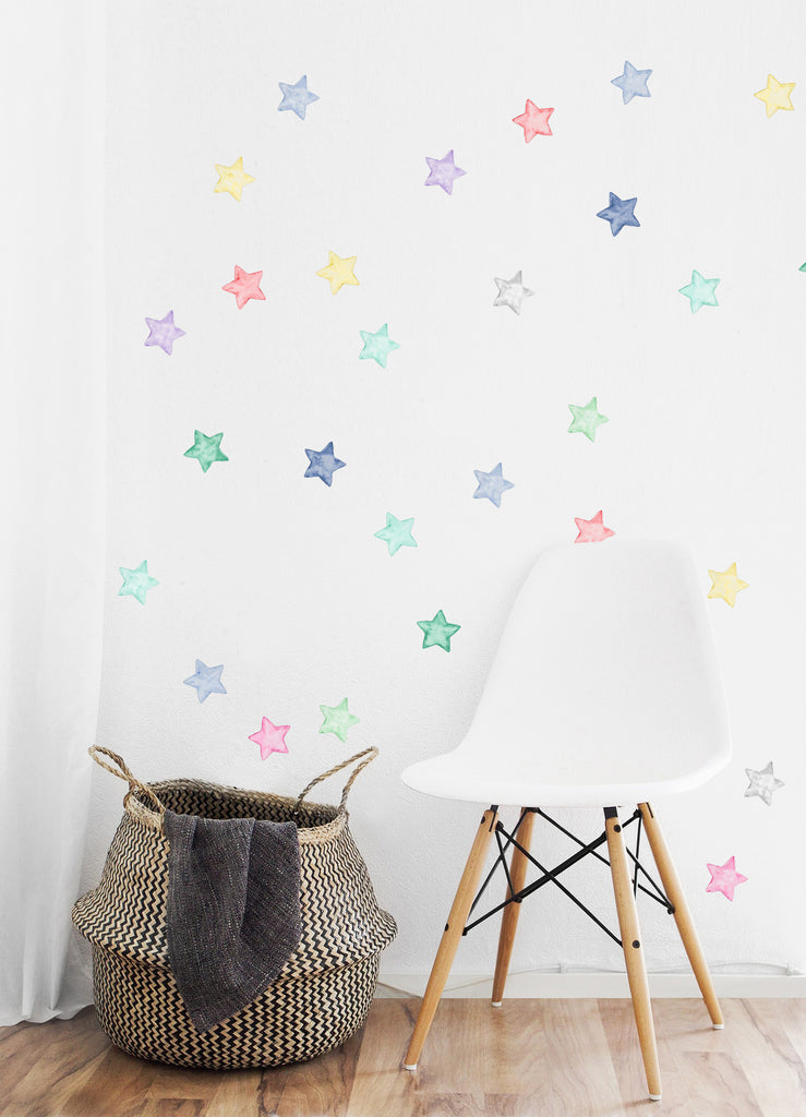 Watercolour Stars Wall Stickers, Multicolour