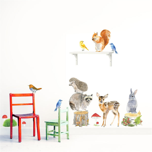 Woodland Animals Wall Stickers, Medium