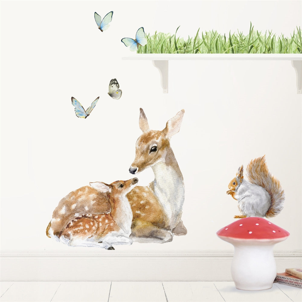 Deer, Squirrel, Butterflies & Grass Wall Decals