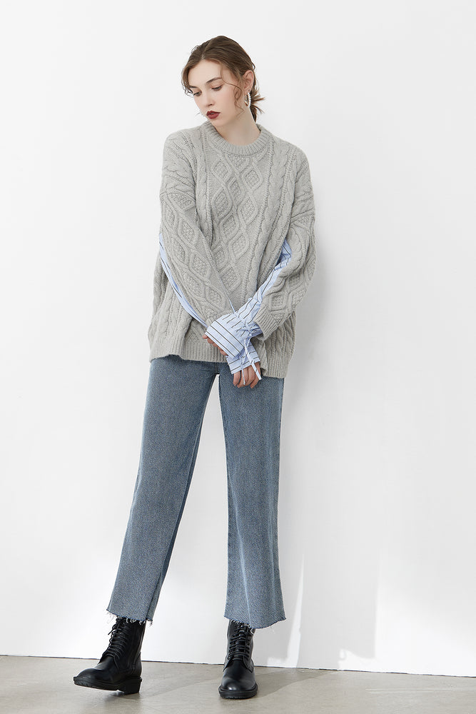 Grey Cable Knit Jumper With Shirting Sleeves
