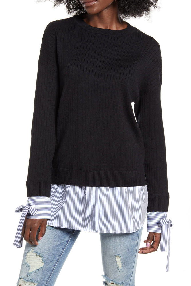 Twofer Sweater Top With Tie