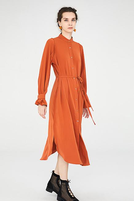 Load image into Gallery viewer, Midi Shirt Dress With Ruched Cuffs - Orange
