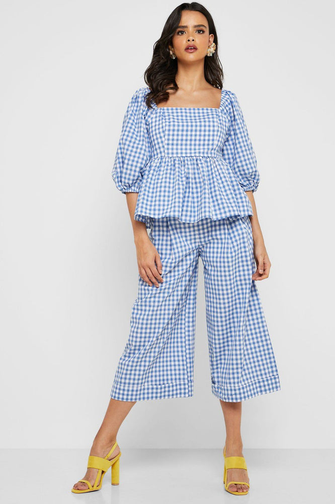 Balloon sleeve Gingham Blouse