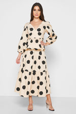 CLOTHING - Dot A-line Midi Skirt