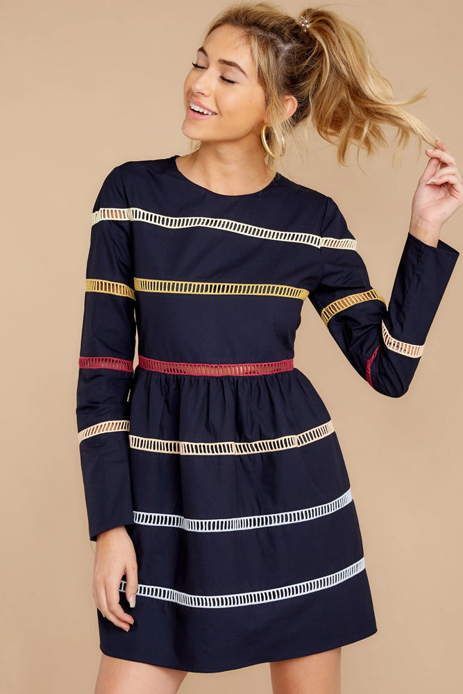 Fit-and-Flare Mini Dress with Ladder Stitching