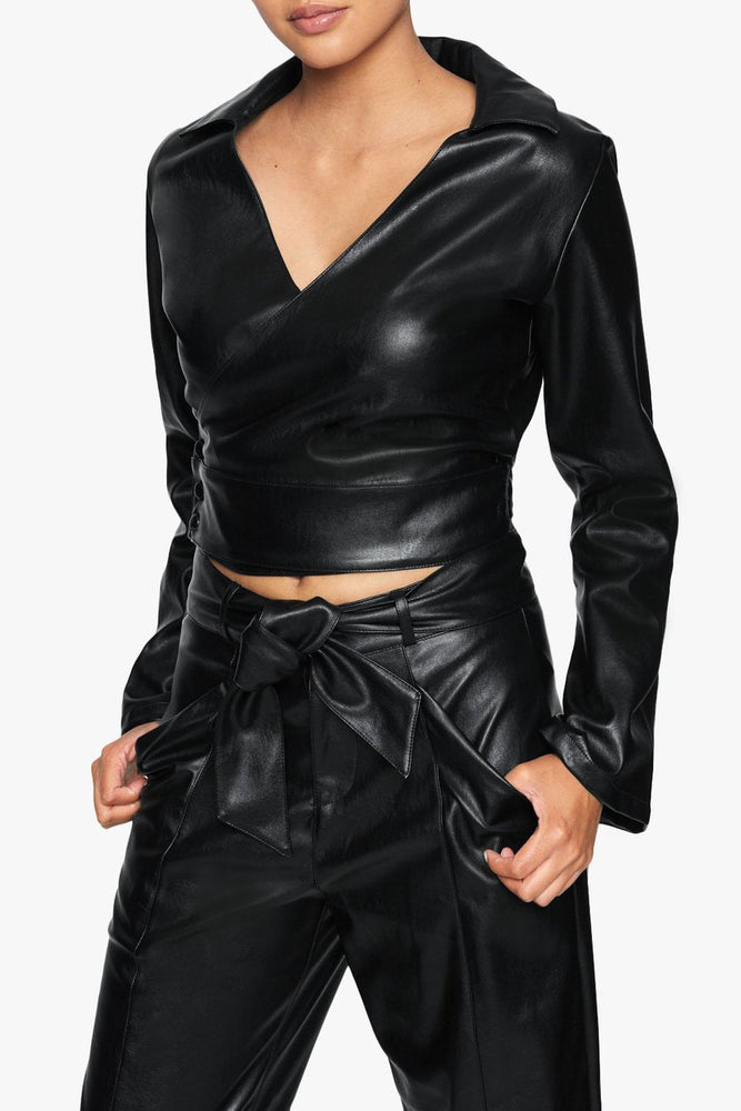 Vegan Leather Wrap Tie Crop Shirt
