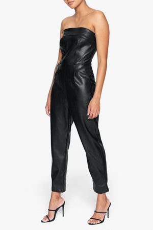 Load image into Gallery viewer, Black Vegan Leather Strapless Jumpsuit