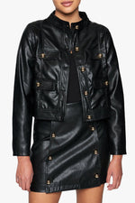 Vegan Leather Four Pocket Cropped Jacket