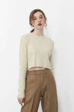 Cream Assymetrical Knit Cropped Top