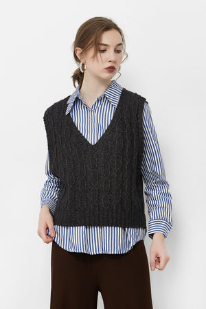 Dark Grey Cable Knit Vest