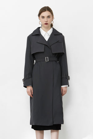 Load image into Gallery viewer, Grey Double Yoke Trench Coat