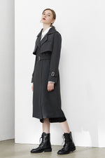 Grey Double Yoke Trench Coat