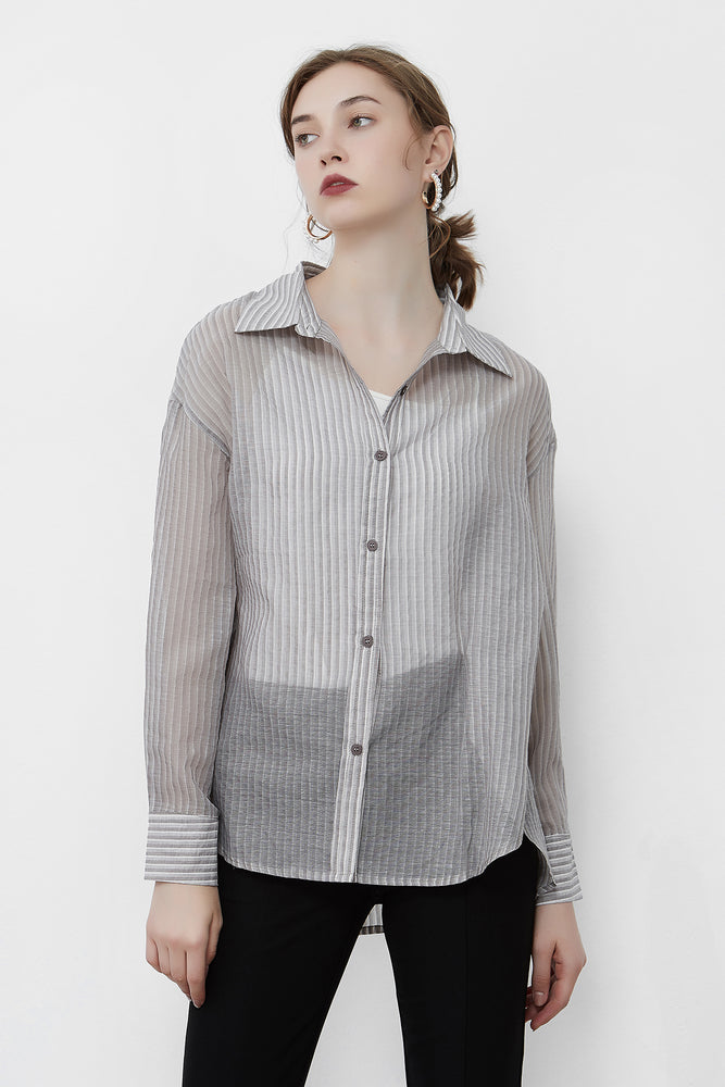 Grey Sheer Pin Stripe Shirt