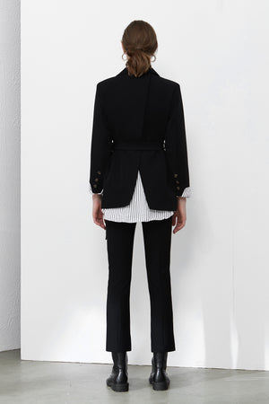 Black Blazer With White Striped Lining