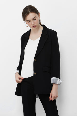 Load image into Gallery viewer, Black Blazer With White Striped Lining