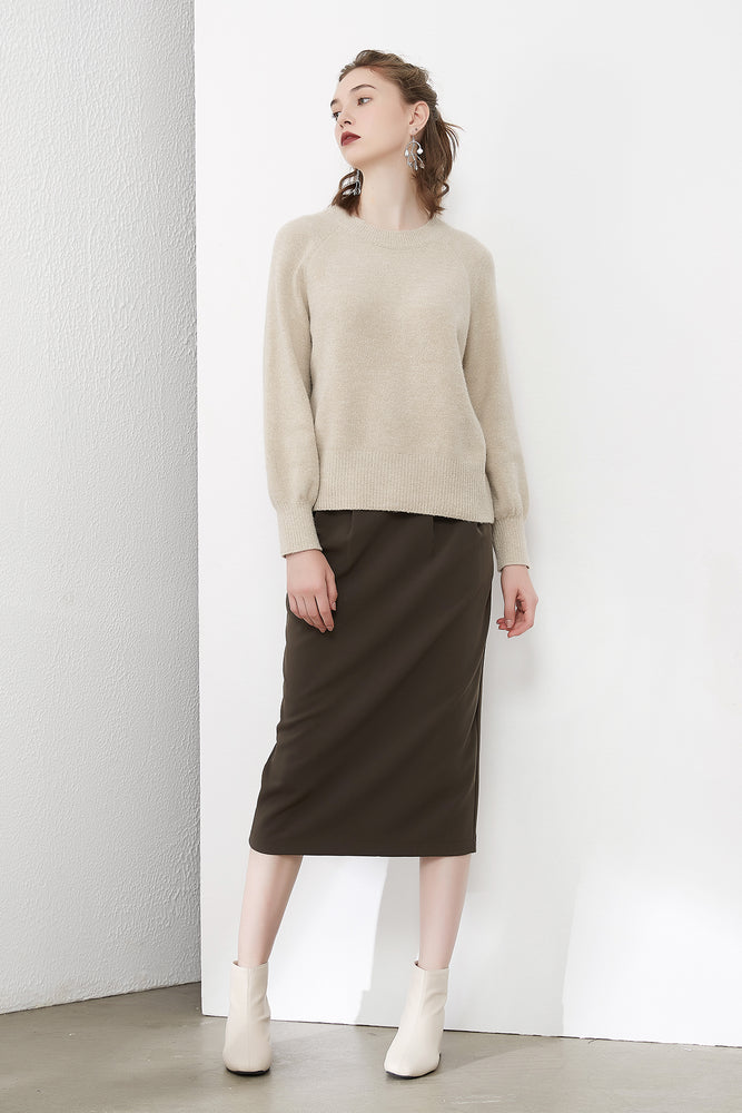 Dark Beige Raglan Sleeve Knit Jumper