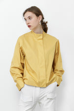 Yellow Hidden Button Stand Shirt