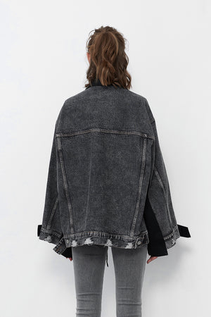 Black Blazer With Denim Sleeves and Back