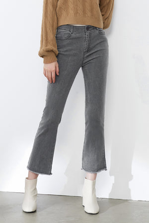 Load image into Gallery viewer, Grey Slim-Fit Flared Jeans