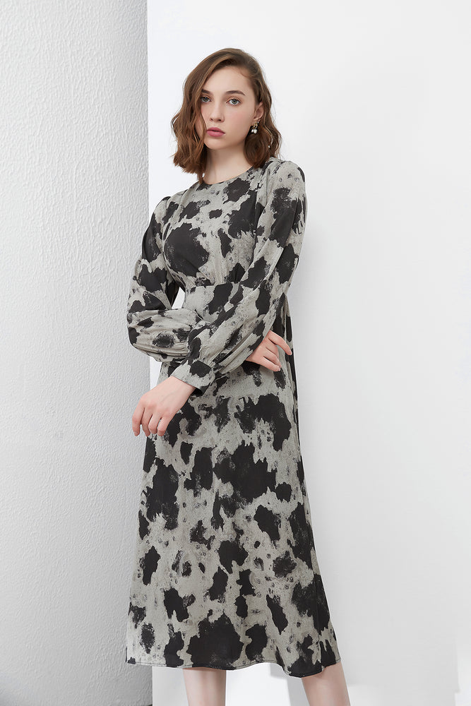Dark Grey Empire Waist Printed Dress