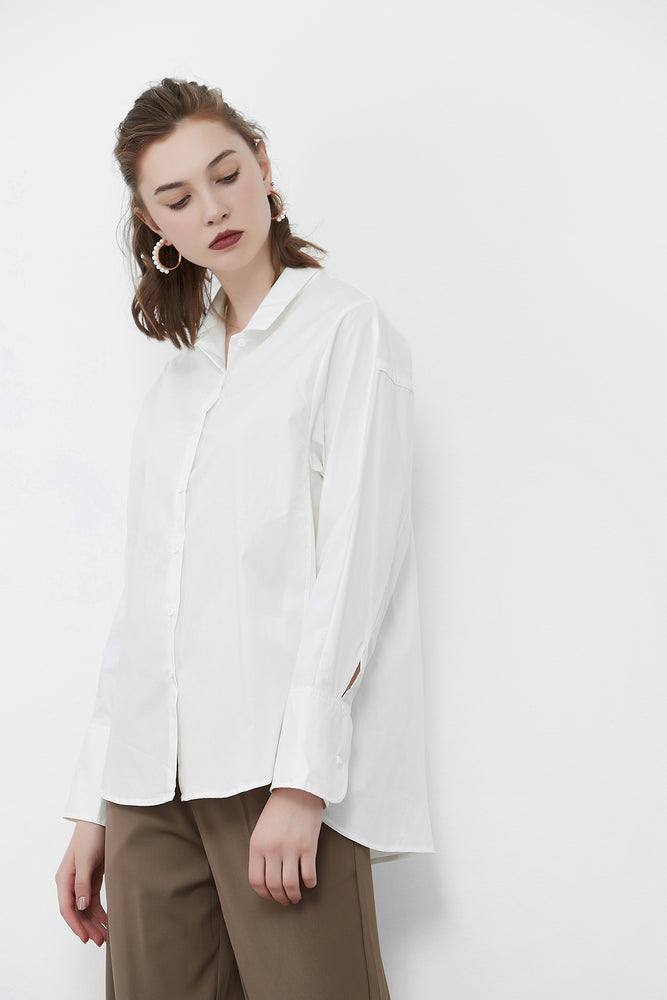 White Big Cuff Oversized Shirt