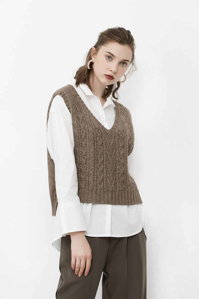 Light Brown Cable Knit Vest With Side Slits