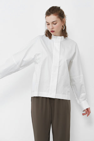 White Hidden Button Stand Shirt