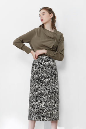 Black Zebra Print Skirt With Back Slit