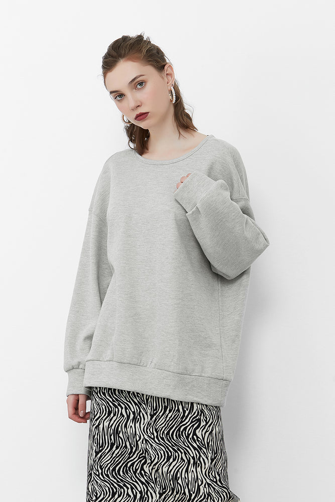 Open Back Chain Sweatshirt in LightGrey