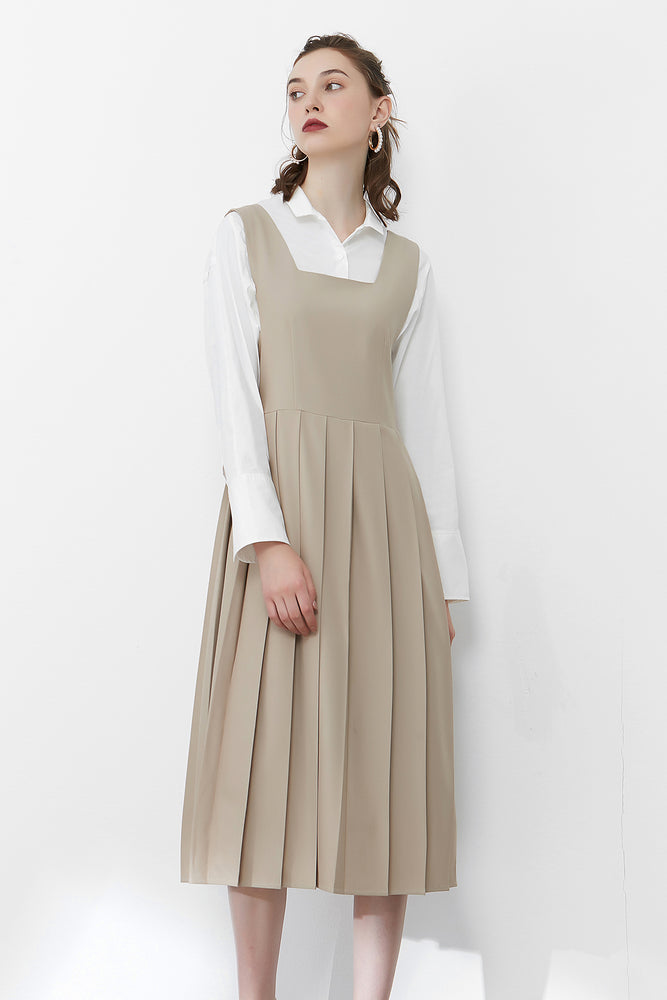 Khaki Pleated Dress With Open Back