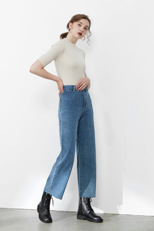 Blue High-Rise Straight-Leg Jeans