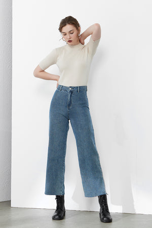 Load image into Gallery viewer, Blue High-Rise Straight-Leg Jeans