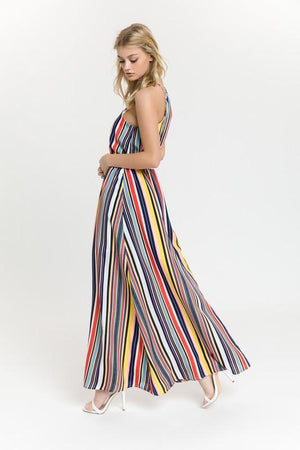 Multi Stripe Halter Maxi Dress
