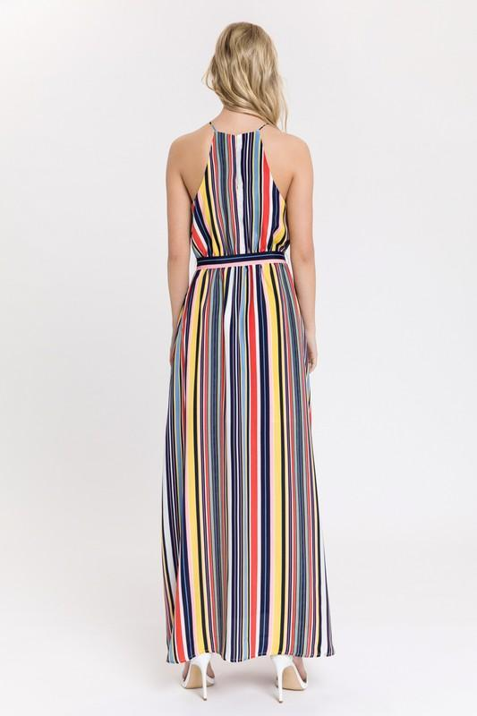 Load image into Gallery viewer, Multi Stripe Halter Maxi Dress
