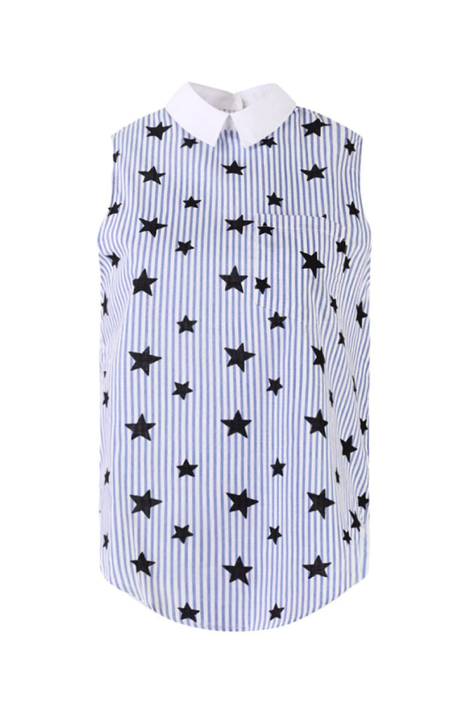 Star Printed Sleeveless Shirt