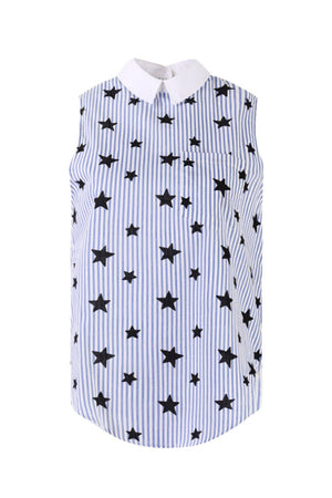 Load image into Gallery viewer, Star Printed Sleeveless Shirt