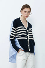 Navy Striped Knit Cardigan With Back Shirting